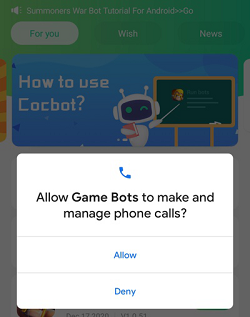 Allow Game bots make and manage phone calls